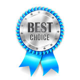 Best Choice Award. Silver best choice award medal with blue ribbon Royalty Free Stock Photos