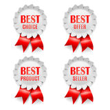 Best Choice Awards. Four best choice award medals with red ribbons Stock Photos