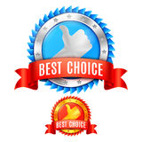 Best Choice Awards. Two best choice award medals with red ribbons and thumb up symbol Stock Image