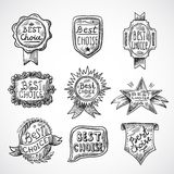 Best Choice Badge. Best choice advertising and promotion badge black sketch set isolated vector illustration Stock Photo