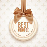 Best choice badge with golden ribbon and a bow Stock Photo