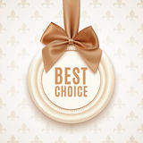 Best choice badge with golden ribbon and a bow Stock Photos