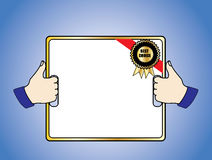 Best Choice Badge on a White Board held in 2 thumb. Best Choice Badge on a White Board held by 2 hands with a thumbs up sign Royalty Free Stock Photography