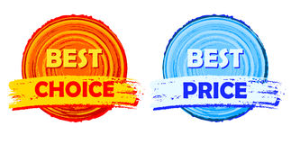 Best choice and best price, orange and blue round drawn labels Stock Photography
