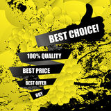 Best choice black banner with like symbol and abstract grunge ba Stock Images