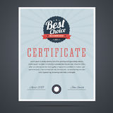 Best choice certificate for product or service Stock Image