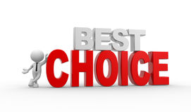 Best choice. 3d people - man, person and text best choice vector illustration