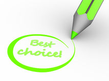 Best choice. 3d render pencil and text Best chioce Royalty Free Stock Image