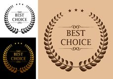 Best choice emblem. Best choice commerce or market emblem with laurel wreath in retro vintage style Stock Photography