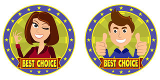 Best choice. Funny stamps. Best choise. Girl and  guy Royalty Free Stock Image