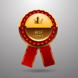Best choice gold red label with ribbons eps 10 Royalty Free Stock Image