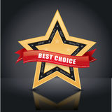 Best choice, gold star emblem. Best choice,  gold star badge with red label Royalty Free Stock Image