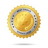 Best choice golden label. Vector golden badge named Best choice for your business artwork Royalty Free Stock Images