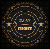 Best choice golden label, vector illustration with gradient and seamless pattern Royalty Free Stock Photos