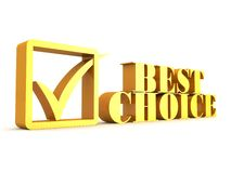 Best choice golden text with check. 3d Royalty Free Stock Photos