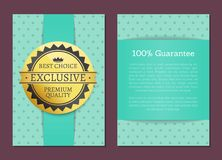 Best Choice and 100 Guarantee Set of Posters. Best choice and 100 guarantee collection of posters with light blue square dot backdrop.  vector illustration of Royalty Free Stock Photos