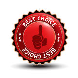 Best choice guaranteed label with gesture hand Royalty Free Stock Images