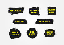 Best Choice, Hot Price, Black Friday, Special Offer, Super Deal, Big Sale. Signs to attract customers. Stock Photos