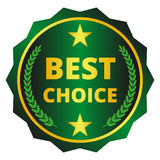 Best choice label. Dark green best choice label, badge with wreath on white background Royalty Free Stock Photo