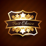 Best choice label design with golden stars Stock Photos