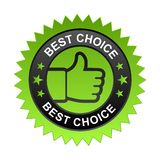 Best choice label. Vector illustration of best choice label with thumbs up sign. stamp or seal on isolated white background royalty free illustration