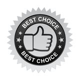 Best choice label. Vector illustration of best choice label with thumbs up sign. stamp or seal on isolated white background vector illustration