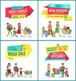 Best Choice and Mega Sale Discount Ad Banners Set stock illustration