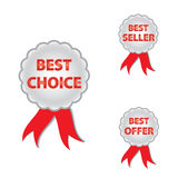 Best choice, offer and seller labels with ribbon. Royalty Free Stock Photos
