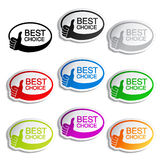 Best choice oval bubbles with gesture hand Stock Image