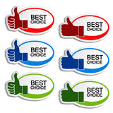 Best choice oval stickers with gesture hand Royalty Free Stock Photos