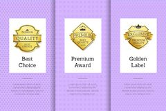 Best Choice Premium Award Golden Label, Guarantee. Sign logotypes in white frames, posters with text vector illustration on purple background Royalty Free Stock Photos