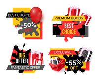 Best Choice and Premium Goods, Sale Banners Set. Best choice and premium goods, sale banners isolated set vector. Offers of shops, labels with balloons and stock illustration