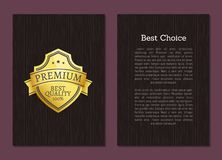 Best Choice Premium Quality Guarantee Golden Label. Best choice premium quality 100 guarantee golden label with text sample isolated on wooden background vector illustration