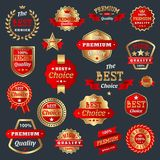 Best choice and premium quality product badges guarantee sign label best symbol medal collection certificate warranty. Best choice and premium quality badges Stock Photo