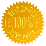 Best choice price. Best choice golden label isolated on white background Royalty Free Stock Image