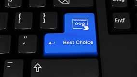 387. Best Choice Rotation Motion On Computer Keyboard Button. 387. Best Choice Rotation Motion On Blue Enter Button On Modern Computer Keyboard with Text and stock footage