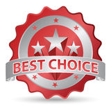 Best choice sticker. In red and silver colors Royalty Free Stock Photos