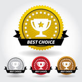 Best Choice Sticker and Sign with Cup and Stars Stock Photo