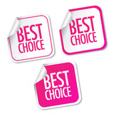 Best choice stickers. With shadow Stock Photos