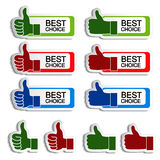 Best choice stickers with gesture hand Stock Photos