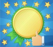 Best choice symbol, golden award icon, thumb up. Cartoon vector illustration Stock Photography