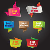 Best choice tags. In origami style and different colors & styles Royalty Free Stock Image