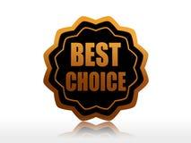 Best choice in golden black star label. Best choice - text in 3d golden black star label, business concept Stock Photo