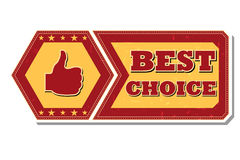 Best choice and thumb up sign - retro label Stock Images