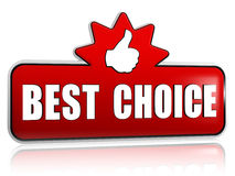 Best choice and thumb up sign in 3d red banner with star Stock Photo
