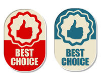 Best choice and thumb up signs, two elliptical labels Stock Photography