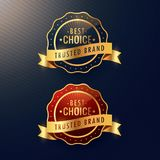 Best choice trusted brand golden label and badge set. Vector Stock Photo