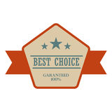 Best choice vintage banner. Retro label with brown ribbon on a white background Royalty Free Stock Photo