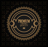 Best choice vintage golden label Premium Quality, vector illustration with gradient and seamless pattern Stock Photography