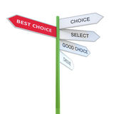 Best choice Way mark. Prompt. 3d concept illustration isolated on white Stock Photos